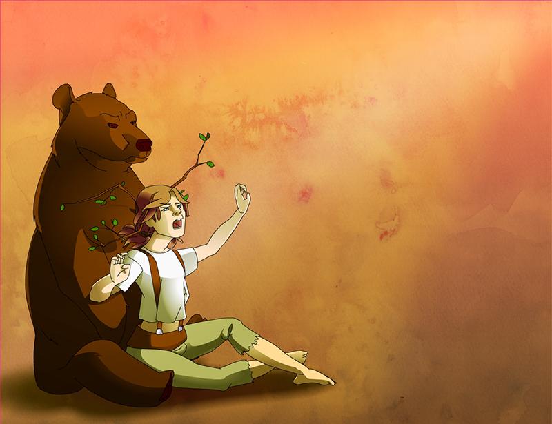 Jeune homme avec un ours