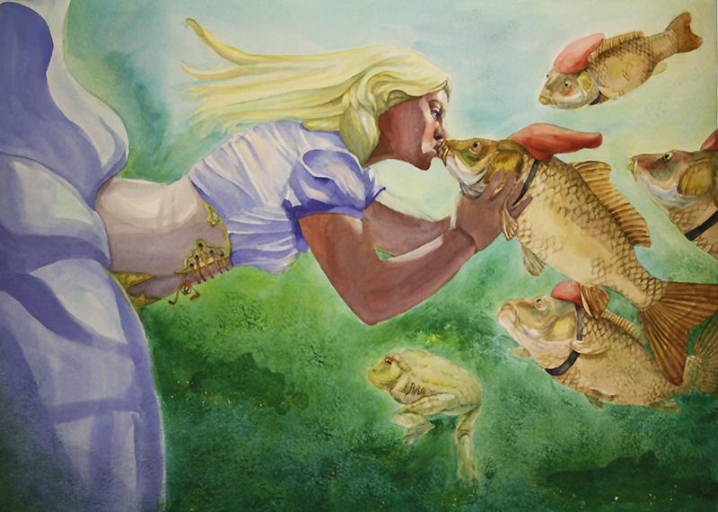 femme dans l'eau embrassant une carpe