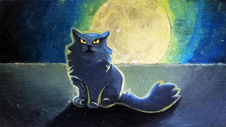 Chat stylisé sur fond de lune